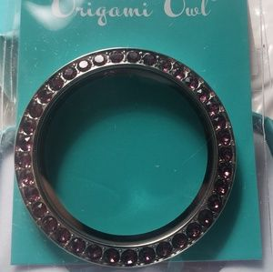 Origami Owl Large Silver Face w/ Amethyst Crystals
